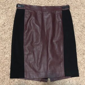 Ann Taylor Red Faux Leather w/Black Panels Skirt